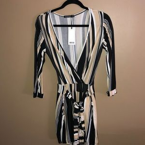 Stripped Belted Romper